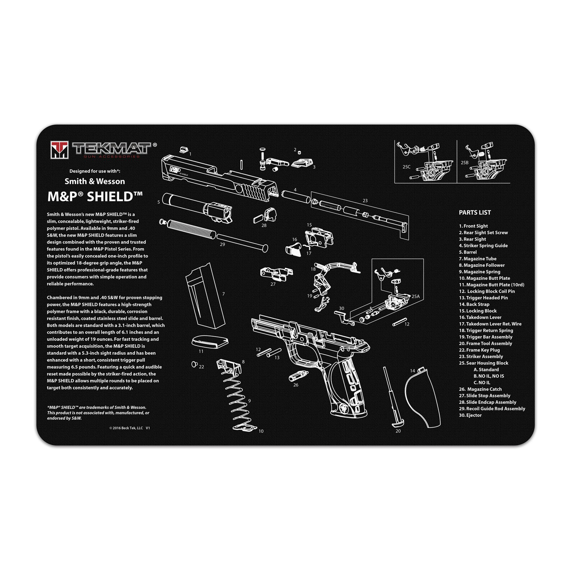 Tekmat Pistol Mat S&w M&p Shield Blk